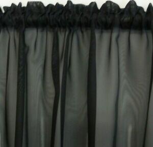 2 metre wide BLACK Sheer Voile Curtains Rod Pocket Bathroom Kitchen Caravan Cafe