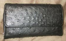 Black Wallet Faux Leather Ostrich Textured Tri Fold Zip Around Organizer Check