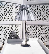 Tischleuchte Metall AILEEN Lampe E27 Schirm Stoff Grau Weiß Nickel Landhausstil