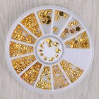 3D Nail Art Decoration Gold Star Moon Square Shape Design Nail  in Wheel