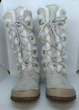 US Polo Association Bobcat White Suede Lace Up Boots - Womens US Size 11