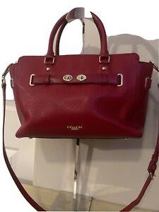Coach Blake Leather Carryall Shoulder Handbag Cranberry F 35689 $550