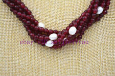 "New Stunning! White Pearl Natural Garnet faceted Necklace 18 "" 6 row"