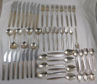 62 Pcs Vintage Georg Jensen Sterling Flatware Service & Serving Pcs Cypress 1953