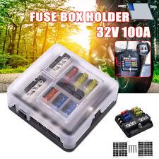 New listing 6 Ways Blade Fuse Box & Distribution Bar Bus Boat Car Kit Holder w/ Led 32V 12V