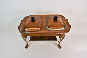 Vintage 1950s/1960s Copper & Brass Food Footed Warmer/Server W/2 Chafing Dishes