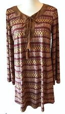 FLYING TOMATO Tunic Dress Lace-Up Soft Suede-Like Fabric Brown Aztec Boho Large