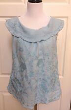 """Meadow Rue Anthropologie """"Passiflora"""" Blue Embroidered Linen Sleeveless Blouse 8"""