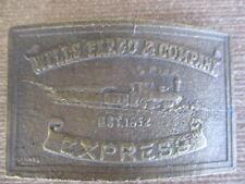 Wells Fargo & Co. Collector belt buckle train logo unknown maker pewter