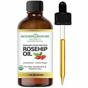 Organic Rosehip Seed Oil 100% Pure Cold Pressed, USDA Certified Organic. 4oz