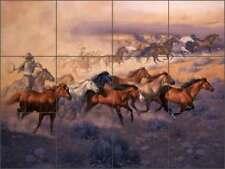Ceramic Tile Mural Backsplash Sorenson Western Horses Art RW-JS038