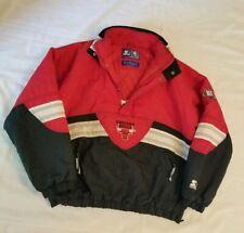 Rare Vintage 90's Red Black Chicago Bulls Starter Pullover Jacket Men's Large