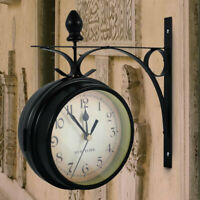 Retro Double-Side Metal Hanging Wall Mounted Clock Battery Powered Home Garden
