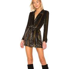 House of Harlow 1960 x REVOLVE Large Carlito Silk Dress Black Gold Metallic L