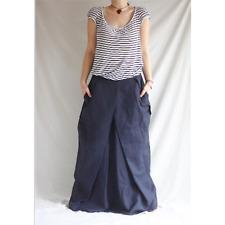 Linen Maxi Skirt Pleated Boho Romantic Denim Plus Size Long Skirt Oversize
