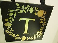 "Initial ""T"" Black and Gold Wood Plaque, NEW"