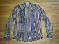 2217s XL Brown Tan Blue Stripe ENGLISH LAUNDRY Navy Blue Embroidery Club Shirt!