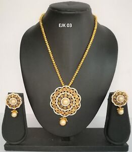 Indian Wedding Fashion Jewelry American Diamond AD Necklace Earrings Sets EJK 03