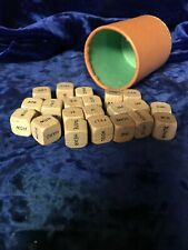 21 old Vintage 1971 Scrabble Sentence Cube Game Wood Wooden Word Tiles