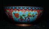 """11,2 """"bols de fleurs de chauve-souris de la dynastie en cuivre émail cloisonné"""