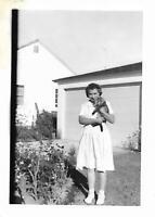 CAT LADY Vintage FOUND PHOTO Woman bw FREE SHIPPING Original Snapshot 04 35 G