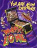 Party Zone Pinball FLYER 1991 Bally Original NOS Promo Space Age Artwork Sci-Fi