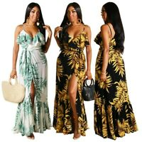 Women's Sexy Slim Maxi Dress Lady Nightclub Sling Printing Ball Gown Dresses
