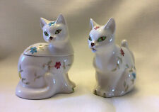 Vintage Enesco China Floral Cat Creamer Sugar Set (E-2402)