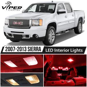2007-2013 GMC Sierra 1500 2500 3500 Red Interior LED Lights Package Kit