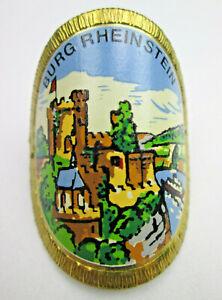 Vintage German Walking Stick Badge Shield Burg Rheinstein Castle Germany Brass