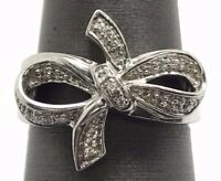 Sterling Silver 925 Cubic Zirconia Pave Swirl Curved Bow Ribbon Cocktail Ring 7