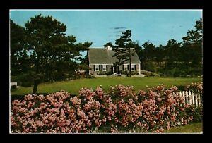 DR JIM STAMPS US PINK FLOWERS CAPE COD HOUSE PROVINCETOWN MASSACHUSETTS POSTCARD