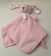 LAMBS & IVY Pink Puppy Dog Lovey Security Blanket Soft Plush Fleece Satin Ears