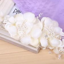 Wedding Bridal Beige Cloth Flower Crown Headband Accessories Hair Clip Comb