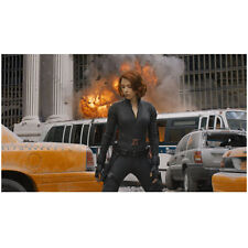 Scarlett Johansson as Black Widow in foreground of explosion 8 x 10 Inch Photo