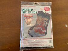 """Vintage Needle Treasures """"JOYFUL ANGEL"""" XMAS STOCKING Counted Cross Stitch Kit"""
