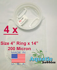 "4x Filter Sock 4"" Ring x 14"" 200 Micron Mesh Polyester HighQuality Aquarium Bag"