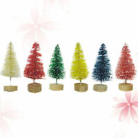 24pcs Small Mini Christmas Trees with Wood Base Desktop Ornaments for Restaurant