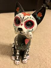 Day Of The Dead Skull Kitty Cat With Fish Bone