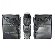 New Zippo Harley Davidson HDP-25 Limited Edition Black Silver Plated Oil Lighter