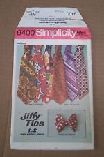 Simplicity 9400 Jiffy Ties 1971 Neck & Bow Ties Cut & UnCut Counted Complete