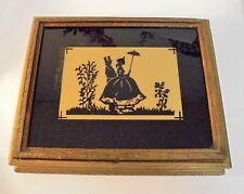 Vintage Wood & Glass Silhouette Jewelery Box