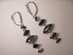Beautiful 14K White Gold Sapphire Dangle Drop Earrings