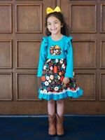Girls, Toddler Fall Floral Turquoise Ruffle Pom Pom Flare Dress 2T 3T 4T 5 6 7 8