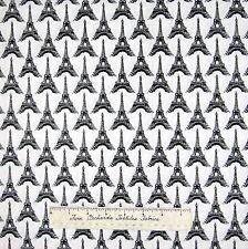 Pepe in Paris Fabric - Black & White Eiffel Tower - Riley Blake YARD