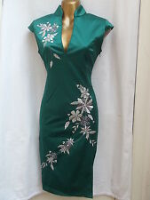 RARE SEXY CHINESE ORIENTAL Green Silver PROM PARTY DRESS 10 12