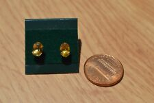 1.16ct Golden Yellow Beryl Solitaire Earrings 14K Yellow Gold  VVS 7x5mm ~ Nice
