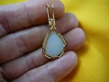 (O-210) White green red opal gold wired PENDANT Australia opals