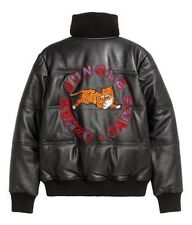 Kenzo x H&M Black Leather Jacket - Tiger Appliqués - Size M / Medium