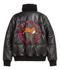 Kenzo x H&M Black Leather Jacket - Tiger Appliqués - Size M / Medium